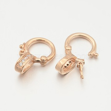 925 Sterling Silver Micro Pave Cubic Zirconia Twister Clasps, Rose Gold, 14x10x5mm, Hole: 3mm(STER-M082-01A)