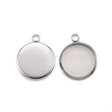 304 Stainless Steel Pendant Cabochon Settings, Plain Edge Bezel Cups, Flat Round, Stainless Steel Color, Tray: 12mm; 17x14x2mm, Hole: 2.2mm(X-STAS-G127-13-12mm-P)