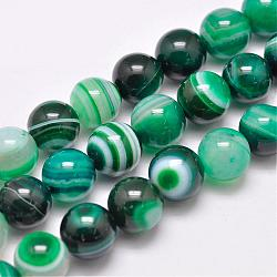 Natural Striped Agate/Banded Agate Bead Strands, Dyed & Heated, Round, Grade A, Sea Green, 16mm, Hole: 2mm; about 25pcs/strand, 15inches(383mm)