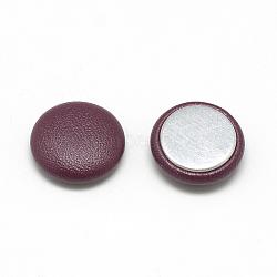Cabochons recouverts de similicuir, avec fond en aluminium, demi-rond / dôme, brun, 15x5mm(X-WOVE-S084-06D)
