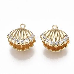 pendentifs en forme de zircon cubique en laiton, pour perle à moitié percée, coquille, effacer, réel 18 k plaqué or, 12x12.5x8.5 mm, trou: 1.4 mm; broches: 1 mm(KK-S350-126G)