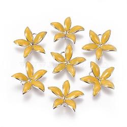 Pendentifs en laiton émail peg bails, pour la moitié de perles percées, sans nickel, fleur, Platine plaqué réel, or, 23x24x6mm, trou: 2 mm; broches: 1 mm(KK-F803-26P-03-NF)