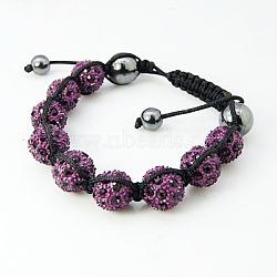 """Bracelets de mode en strass en alliage, avec des perles d'hématite et corde de nylon, oldrose, 2-1/4"""" (58 mm)(X-BJEW-D071-1A)"""