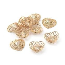 pendentifs en laiton, avec zircons, pour la moitié de perles percées, cœur, effacer, véritable plaqué or, 18.5x20x5.5 mm, trou: 1.2 mm; broches: 0.8 mm(KK-F808-13G)