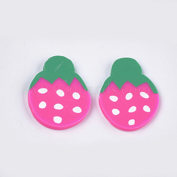 Handmade Polymer Clay Cabochons, Strawberry, Camellia, 26x19~20x2~3mm(CLAY-S091-53)