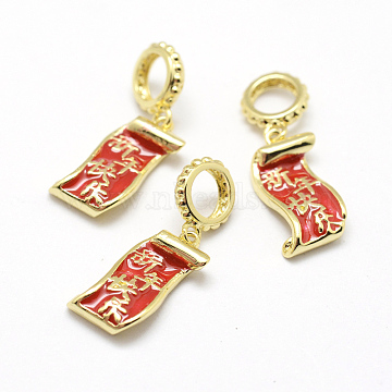 13mm Red Others Brass+Enamel Dangle Beads