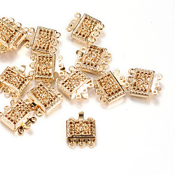 Fermoirs de boîte en laiton, carrée, or clair, 12x11x4mm, Trou: 1mm(X-KK-R037-42KC)