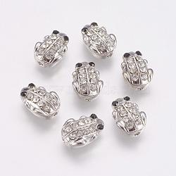 Perles en alliage, avec strass, grenouille, platine, 12x8.5x4mm, Trou: 1mm(PALLOY-G230-45P)