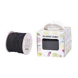 Elastic Cord, with Nylon Outside and Rubber Inside, Round, Black, 1mm; 109.36yards/roll(100m/roll)(EC-JP0003-1mm-038A)