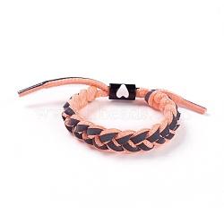 bracelets coulissants tressés en fils de polycoton (polyester coton) réglables, avec les résultats de l'émail en alliage de zinc, lightsalmon, 1-3 / 4 3 cm)(BJEW-P252-E08)