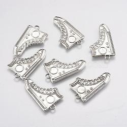 Supports chaussures de style tibétain pendentif argent antiques pour l'émail, sans plomb et sans cadmium, 17x30x1mm, Trou: 1mm(X-TIBEP-23525-AS-RS)