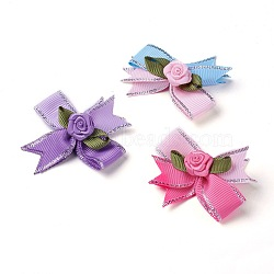Broche en polyester, avec les accessoires en fer, bowknot avec des fleurs, couleur mixte, 50~53x47~48mm(JEWB-I011-04)