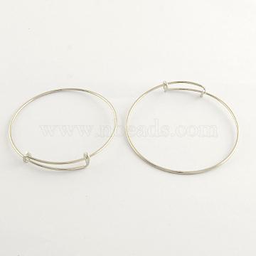 Adjustable Brass Bangle Making, Cadmium Free & Lead Free, Platinum, 2-3/4 inches(70mm)(X-BJEW-R032-P)