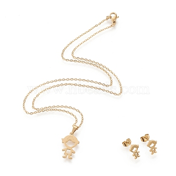 304 Stainless Steel Jewelry Sets, Cable Chains Pendant Necklaces and Stud Earrings, with Lobster Claw Clasps and Ear Nuts, Boy, Golden, 17.72 inches(45cm), 1.5mm; 10.5x7.5mm, Pin: 0.8mm(X-STAS-K196-17G)