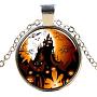 стеклянные ожерелья на Хэллоуин, сплава с выводами, плоский тур с замком, серебро, 17.7 (45 см); подвеска: 27 мм