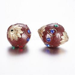 Perles Indonésiennes manuelles, avec la conclusion de l'alliage et strass, ovale, or, marron, 27x21mm, Trou: 1.5mm(IPDL-A008-002A)