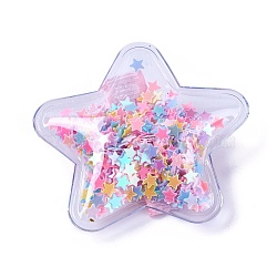 Plastic Alligator Hair Clips, with Paillette & Platinum Plated Iron Base, Star, Colorful, 47~48x49~50x14~15mm(PHAR-L005-C07)
