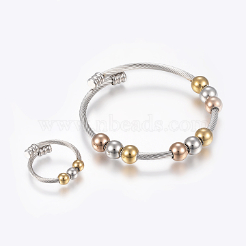 304 Stainless Steel Jewelry Sets, Adjustable Bangles and Rings, Mixed Color, 2-1/8inches(55mm); 3mm(BJEW-H123-05)