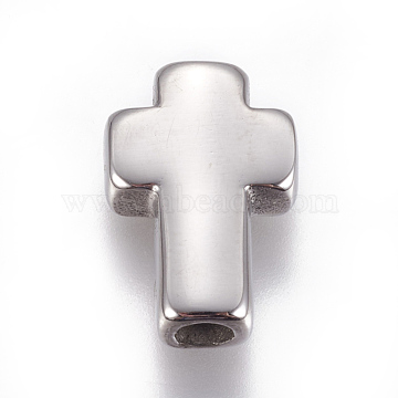 304 Stainless Steel Beads, Cross, Stainless Steel Color, 14x10x4mm, Hole: 3mm(X-STAS-F212-066P)