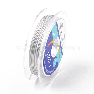 Tiger Tail Beading Wire, 7-Strand Bead Stringing Wire, Nylon Coated Stainless Steel Wire, Silver, 24 Gauge; 0.5mm, about 32.8 Feet(10m)/roll(TWIR-R007-0.5mm-02)