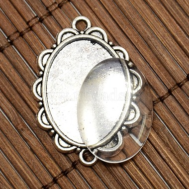 25x18mm Oval Dome Clear Glass Cover and Antique Silver Alloy Cabochon Connector Settings Sets(DIY-X0082-AS-NF)-3