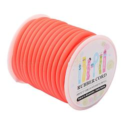 Cordon en caoutchouc synthétique, creux, enroulé aurond de plastique blanc bobine, orange rouge , 5mm, trou: 3mm; environ 10.94yards / roll (10m / roll)(RCOR-JP0001-5mm-06)