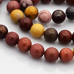 """Pierres gemmes de Mookaite rondes et naturelles , 8mm, trou: 1mm; environ 50 pcs/chapelet, 15.7""""(G-N0120-42-8mm)"""