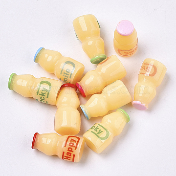 Resin Beads, No Hole/Undrilled, Imitation Nonfat Probiotic Drink Bottle, with Word Lucky & Smile & Lovely & Happy, Mixed Color, 20~22x10~11mm(X-CRES-N021-31)