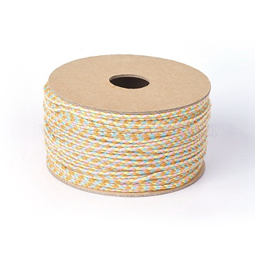 Cotton Braided Cords, Macrame Cord, Colorful, 2mm, about 21.87 yards(20m)/roll(OCOR-F010-C04)