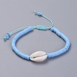 bracelets en argile de polymère faits main écologiques en pâte polymère, avec perles en nacre et cordon de nylon, bleu, 1-7 / 8 / 2-7 8 cm)(BJEW-JB04317-04)