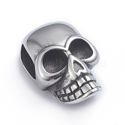 Retro 304 Stainless Steel Slide Charms/Slider Beads, for Leather Cord Bracelets Making, Skull, Antique Silver, 22x14x9mm, Hole: 4x8mm(X-STAS-L243-022AS)