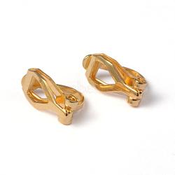 Bagues d'oreilles unies en laiton pour oreilles non percées, or, environ 6 mm de large, Longueur 13mm, épaisseur de 8mm(X-EC110-G)