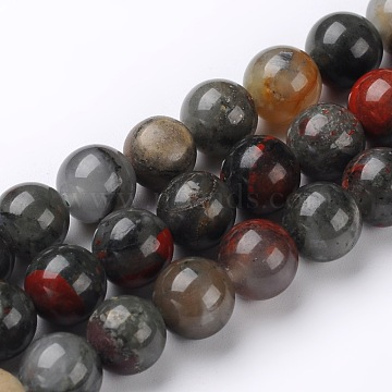 Natural African Bloodstone Beads Strands, Heliotrope Stone Beads, Round, 6mm, Hole: 1mm; about 60~62pcs/strand, 15.74 inches(X-G-L383-06-6mm)