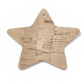 Imitation Leather Big Pendants, Star, Wheat, 52x54x1mm, Hole: 1.8mm(X-FIND-N001-04)