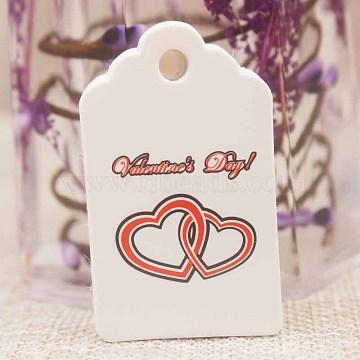 Paper Gift Tags, Hange Tags, For Arts and Crafts, For Valentine's Day, Rectangle with Heart and Word, White, 50x30x0.4mm, Hole: 5mm(CDIS-P001-H11-B)