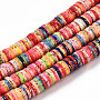 Colorful Flat Round Polymer Clay Beads(CLAY-T018-04D)