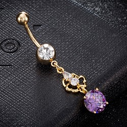 Eco-Friendly Brass Cubic Zirconia Navel Ring, Belly Rings, with Use Stainless Steel Findings, Real 18K Gold Plated, Flower with Flat Round, Medium Orchid, 49x9mm, Pin: 1.5mm(AJEW-EE0004-30D)