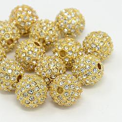 Perles de strass en alliage, Grade a, rond, métal couleur or, cristal, 10mm(X-RB-A034-10mm-A01G)