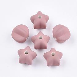 Perles acryliques, de Style caoutchouté, étoiles, rose, 14x16x16.5mm, trou: 3 mm; environ 265 pcs / 500 g(OACR-S030-10D)