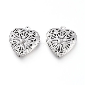 304 Stainless Steel Locket Pendants, Photo Frame Charms for Necklaces, Hollow Heart, Stainless Steel Color, Tray: 13x13.5mm, 22.5x19.5x5.5mm, Hole: 1.5mm(STAS-K192-12P)