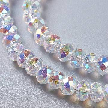 Glass Imitation Austrian Crystal Beads, Faceted Rondelle, Clear AB, 6x4mm, Hole: 1.2mm(GLAA-F108-05A)