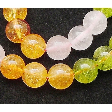 Gemstone Beads, Including Natural Rose Quartz, Citrine and  Ringwoodite, Round, Colorful, Size: about 4mm in diameter, hole: 1mm, 90pcs/strand, 15inches(X-G-Q166-2)