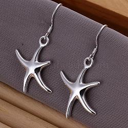Laiton étoile pendentif boucles d'oreilles de haute qualité, argenterie, 39x19mm(EJEW-BB11895)