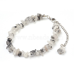 Natural Tourmalinated Quartz/Black Rutilated Quartz Chip Beads Anklets, with Glass Seed Beads, with Brass and Stainless Steel Findings, 8-1/2 inches(21.5cm)(X-AJEW-AN00229-03)