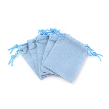 Velvet Cloth Drawstring Bags, Jewelry Bags, Christmas Party Wedding Candy Gift Bags, Light Sky Blue, 9x7cm(TP-C001-70X90mm-3)
