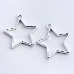 Enrubanneuse en alliage étoile en caoutchouc, pour diy uv résine, une résine époxy, Bijoux à fleurs pressées, creux, sans plomb et sans nickel, argent mat, 35x32.8x3.5 mm, trou: 3 mm(X-PALLOY-S047-40B-FF)