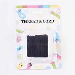3x1.5 mm faux plat daim noir cordon, dentelle de faux suède, environ 5 m / bibone (X-LW-R003-01)