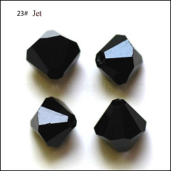 Perles d'imitation cristal autrichien, grade AAA, facette, Toupie, noir, 6x6mm, Trou: 0.7~0.9mm(SWAR-F022-6x6mm-280)