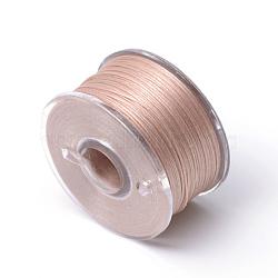 Fils de perles en polyester enduit spécial pour perles de rocaille, saumon foncé, 0.1 mm; environ 50 mètres / rouleau(OCOR-R038-04)