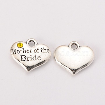 Wedding Theme Antique Silver Tone Tibetan Style Alloy Heart with Mother of the Bride Rhinestone Charms, Cadmium Free & Lead Free, Citrine, 14x16x3mm, Hole: 2mm(X-TIBEP-N005-18E)